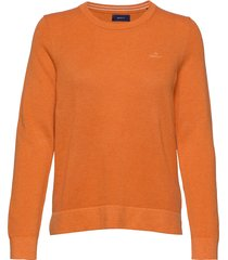 cotton pique c-neck gebreide trui oranje gant