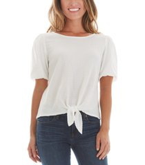 bcx juniors' bubble sleeve tie front top