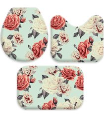 kit 3 tapetes decorativos para banheiro wevans flor azul