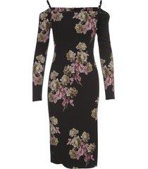 blumarine roses printing down shoulders l/s midi dress