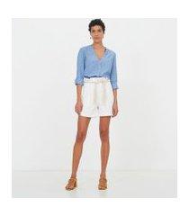 camisa manga longa lisa com decote v | marfinno | azul | pp