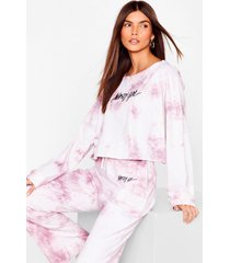 womens word on the streets tie dye joggers set - mauve