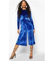 velvet knot front cullotte jumpsuit, cobalt