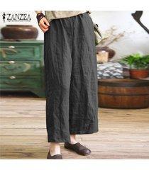 s-5xl zanzea mujeres anchas piernas casual floja de gran tamaño harem pantalones holgados -negro