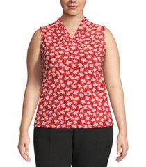 anne klein plus size primavera floral-print sleeveless top