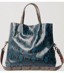 bolsa de couro shopping bag recortes snake azul