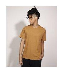 camiseta básica manga curta gola careca marrom