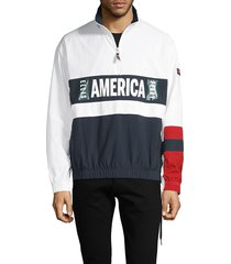 perry ellis men's america graphic colorblock jacket - bright white - size l