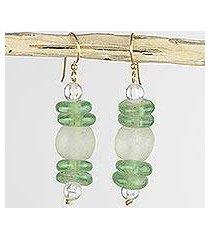 recycled glass dangle earrings, 'shine' (ghana)
