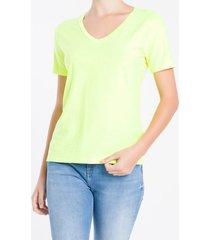 camiseta decote v calvin klein - amarelo - pp