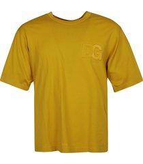 dolce & gabbana embossed chest logo regular t-shirt