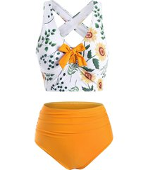 knotted criss cross high waisted sunflower tankini swimwear