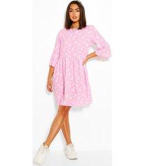 floral print frill sleeve smock dress, pink