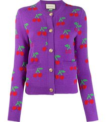 gucci gg cherry jacquard wool knit cardigan - purple