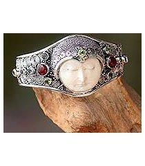 peridot and carnelian cuff bracelet, 'moon empress' (indonesia)