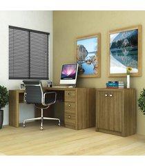 escritório completo áustria amendoa - tecno mobili