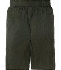 moncler logo-embroidered swim shorts - green