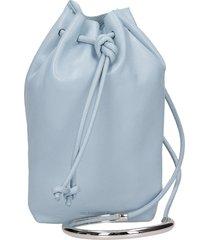jil sander drawstring hand bag in blue leather
