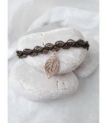 bransoletka - makrama - liść