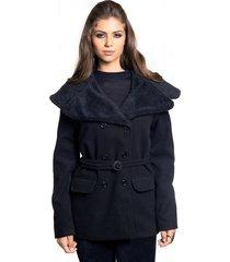casaco trench coat madame de lã batida com gola de pelo preto