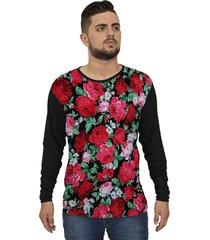 camiseta lucinoze manga longa flores preto