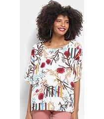 blusa top moda alongada floral feminina