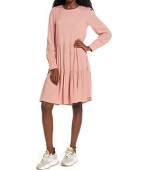 women's vero moda girlie tiered long sleeve dress, size small - pink