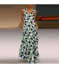 zanzea verano de las mujeres sin mangas vestido de tirantes floral kaftan partido vestido largo maxi del tamaño extra grande -verde