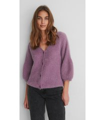 na-kd balloon sleeve short knitted cardigan - purple