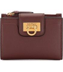 salvatore ferragamo flip-lock calf leather wallet - purple