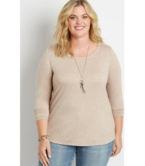 maurices plus size womens 24/7 solid long sleeve tee beige