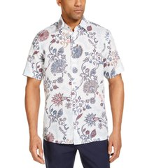 tasso elba men's editto floral linen short sleeve tropical print shirt, created for macy's