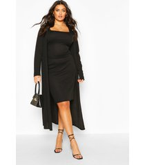 plus geribbelde midi en kimono jurk, zwart