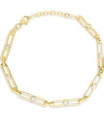 chloe & madison women's 14k gold vermeil & crystal bracelet