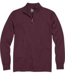 jos. a. bank traveler wine modern fit 1/2 zip mock neck sweater