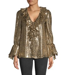 elliot long-sleeve leopard ruffle blouse