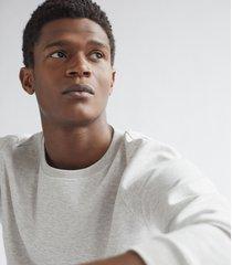 reiss douglas - melange jersey sweatshirt in soft grey, mens, size xxl