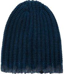 avant toi distressed ribbed-knit beanie - blue