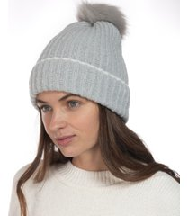 style & co ribbed beanie hat with faux-fur pom, created for macy's