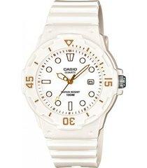 reloj casio dama modelo lrw 200h-7e2  pulso en goma  original blanco
