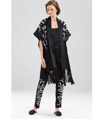 eden embroidered pants pajamas, women's, black, silk, size l, josie natori
