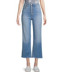 joe's jeans women's high-rise exposed button wide leg jeans - cherbourg - size 30 (8-10)