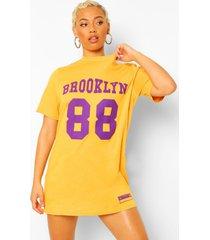 brooklyn baksetbal t-shirtjurk, mustard