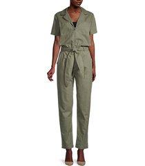 carson short-sleeve tied zip jumpsuit