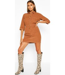 cord button dress, tan