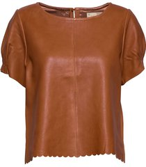 the leather t-shirt t-shirts & tops short-sleeved brun odd molly