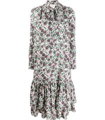 la doublej floral long-line dress - white