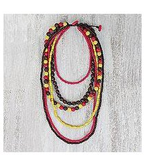 beaded wood necklace, 'tropic gala' (thailand)