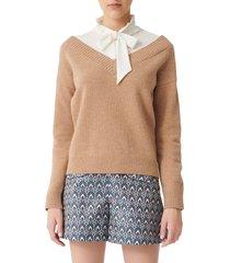 women's maje mirelle layered shirt & wool blend sweater pullover