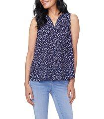 women's nydj pleat back sleeveless split neck blouse, size xx-small - blue
